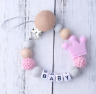 Personalised Name Silicone Crown chew Teether Baby Pacifier Clips Holder Soother