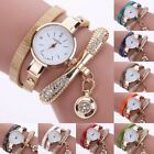 Fashion Women Ladies PU Leather Rhinestone Analog Quartz Wrist Watches New Watch image