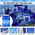 3D Blue Rose Printed Bedding Set Pillowcase Quilt Cover King Queen Twin Bed Size