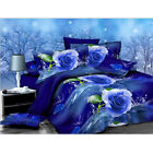 3D Blue Rose Printed Bedding Set Pillowcase Quilt Cover King Queen Twin Bed Size image