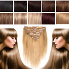 Any Colour Clip in Human Hair Extensions Full Head 100% Remy Long Hair CLEARANCE