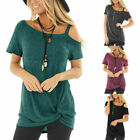 Sexy Women's Cold Shoulder T-Shirt Short Sleeve Knot Twist Front Tunic Blouse T