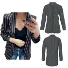Women's Sexy Open Long Sleeve Jackets Striped Formal Wear Office Lady Coat New