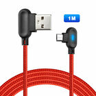 90° Fast Charging Micro USB Charger LED Shape Reversible Usb Unbreakable Cable