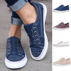 Womens Slip On Canvas Flat Trainers Ladies Loafers Plimsolls Pumps Casual Shoes