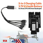 For Drone X Pro RC Drone Quadcopter Spare Part 850mAh Lipo Battery +5 IN 1 Cable