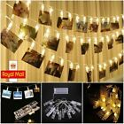 10-40 Led Photo Clip Peg String Lights Battery Operated Home Party Decor Gift Uk