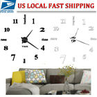 Modern DIY Large Wall Clock 3D Mirror Surface Sticker Home Decor Art Design USA