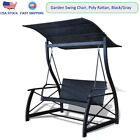 Garden Swing Chair Poly Rattan with Seat Cushion 2 Back Pillow Sun Shade Outdoor