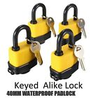 Lot 4 12 2 40mm Waterproof Keyed Alike Lock Laminated Padlock Pad Same Key Gate