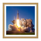 Space X Arabsat-6A Rocket Launch Pad Square Framed Wall Art 16X16 In