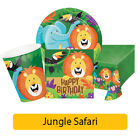 JUNGLE SAFARI Birthday Party Range Animals Age 1/1st - Tableware Decorations{CP}