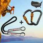 Aluminum Locking Climbing Carabiner +Eye to Eye Prusik Cord Loop Pre-sewn Rope
