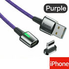 3A Braided LED Magnetic Charger Connector Smart Phones Fast Charging USB Cable