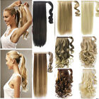 uk mega thick clip in ponytail hair extensions straight curly wrap pony tail lhc