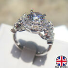 925 Sterling Silver Crystal Ring Womens Fashion Wedding Engagement Jewellery Uk