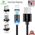 Braided Magnetic Lightning+USB Charger Charging Cable For iPhone Samsung Type-C