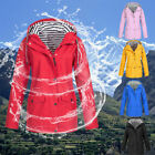 Womens Ladies Long Sleeve Hooded Wind Jacket Ladies Outdoor Waterproof Rain Coat