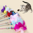 Cat Teaser Toy with Bell Feather Wand Stick Pet Kitten Play Interactive Toys