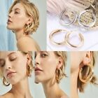 Women Large Statement Chunky Wide Hoop Gold Silver Round Earrings Jewelry Gifts