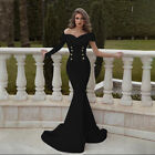 Women Double breasted Off Shoulder Long Sleeve Fish Tail Evening Dress Ball Gown