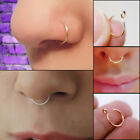 Women Men Body Jewellery Fake Septum Clip On Non Piercing Nose Ring Clicker US image