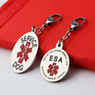 Round Oval Service Dog Metal Tag ESA Pendant For Pet Dog Collar Drop Accessories