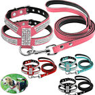 Small Dog Harness Leash Leather Rhinestone Pet Puppy Harnesses Leads Chihuahua