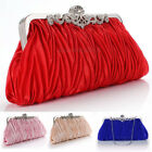 Women Lady Satin Crystal Bridal Handbag Clutch Party Wedding Purse Evening Bag image