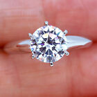 2Ct 14K White Gold Over Six-Prong Diamond Engagement Wedding Ring R6 image