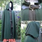 Fashion Men Medieval Renaissance Hooded Cloak Gothics Belt-up Long Mantle Capes
