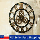 Vintage Retro Outdoor Garden Wall Wooden Clock Big Roman Numeral Giant Open  US