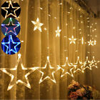 Led Star Curtain String Lights 12stars 138leds Usb/uk Plug Waterproof Home Decor