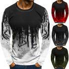 Mens Gradient Color Long-Sleeve Beefy Muscle Basic Blouse Casual Tee Top T Shirt image