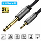 "3.3FT/6.6FT 6.35mm 1/4"" Male to 3.5mm 1/8"""" Jack TRS Stereo AUX Audio Cable Gold"