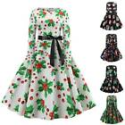 Women's Christmas Retro Long Sleeve Swing Midi Dress Xmas Lace Up Sundress Prom
