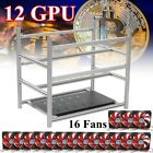 12 GPU Stackable Open Air Miner Mining Rig Case +16 Fans For ETH/BTC Aluminum US