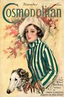 Cosmopolitan Cover Lady Girl with a Greyhound Dog Vintage Poster Repro FREE S/H
