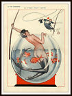 Vie Parisienne Cover Mermaid in a Aquarium Red Fish Vintage Poster Repro FREE SH
