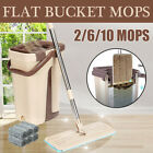 6/10 Microfiber Pads Wringing Mop Bucket System Flat Floor Self Cleaning Drying