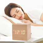 Wood Cube LED Alarm Voice Control Digital Desk Bedside Clock  Temperature WH