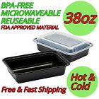 38oz Food Containers With Lids Meal Prep Plastic Bpa Free Microwavable Reusable