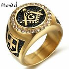 MENDEL Mens Stainless Steel Freemason Gold Masonic Faux Diamond Ring Size 8-15
