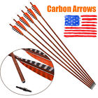 SP400 Carbon Arrows 30in with Turkey Feather for Archery Target Hunting Shooting