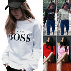 Women Letter Print Hoodie Sweatshirt Long Sleeve Pullover Jumper Tops Blouse UK