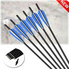 """6X 16-22"""" Archery Crossbow Carbon Arrows Bolts Target Tips Hunting Shooting US"""