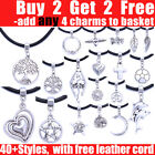 Tibetan Silver Charm Pendant Real Leather Cord Necklace Choker For Women Girl