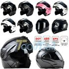 DOT Carbon Black Modular Flip Up Dual Visor Full Face Motorcycle Helmet S M L XL