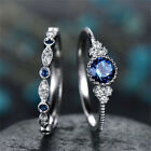2pcs Fashion Silver Round Cut Sapphire Rings Women Wedding Jewelry Size 6-10
