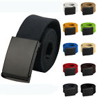 """2020 Mens Cut To Fit Canvas Belt Size Up to 52"""" with Black Waist Buckle 16 Color"""